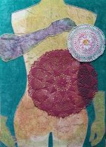 It hasn't happened yet, collagraph, vintage doilies, and stitching on fabric, 2019.